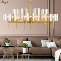 Luxury Europe Copper Lustre E14 Led Chandelier Living Room Amber / Blue Glass Pendant Chandelier Lighting Led Lighting Lamparas
