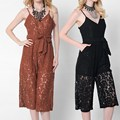 Women Spring Summer Sexy Strap V-neck Boho Jumpsuit Camisole Bandage Hollow Wide Leg Lace Casual Ladies Playsuit