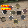 Brass 25mm 100pcs Bronze/Silver/Gold/Black Blank Pendant with Hanger Trays Bases Cameo Cabochon Setting for Glass/Stickers