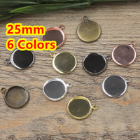 25mm 100pcs Bronze Silver Gold Black Blank Pendant With Hanger Trays Bases Cameo Cabochon Setting For