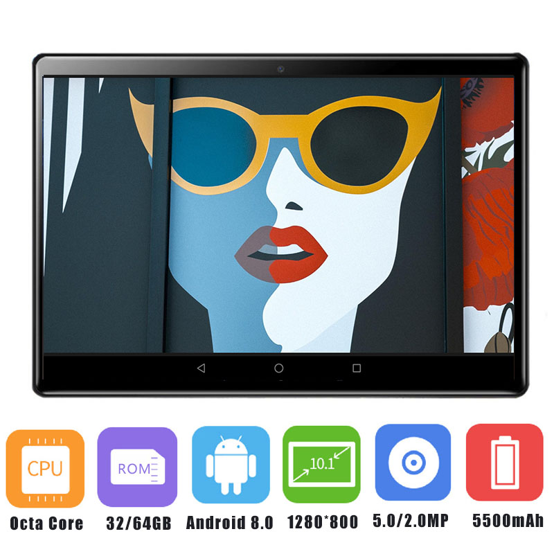 Super 2 5D Tempered Glass IPS 10 Inch Tablet PC 4GB RAM 64GB ROM Octa Core