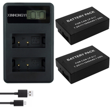 2X 1040mAh LP-E17 LPE17 LP E17 Camera Battery +LCD Dual USB Charger for Canon EOS M3 M5 M6 750D 760D T6i T6s 800D 8000D Kiss X8i цена
