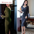 2016 New Arrival Women's Autumn Clothing Full Sleeve Pullover Sweater V-Neck Slim Sexy Female Knitting Pencil Dress S-L