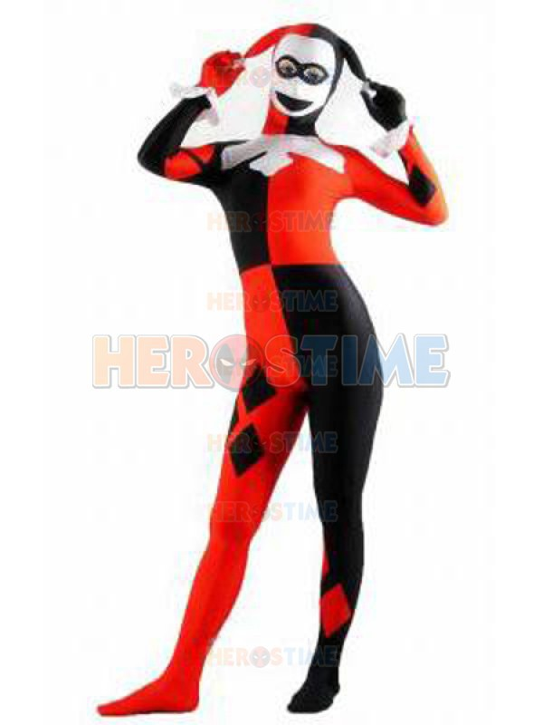 Harley Quinn Costume The Most Classic Halloween Spandex Fullbody Cosplay Party Show Suit Free Shipping