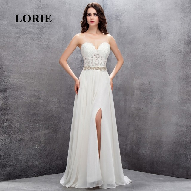 a9eb27b4c05 LORIE Beach Wedding Dress Sweetheart Customized Appliques Cheap Lace top  Chiffon Skirt Free Shipping Lace Up Vintage Bridal Gown