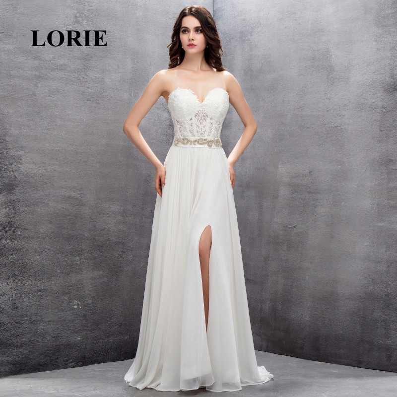 LORIE Beach Wedding Dress Sweetheart Customized Appliques Cheap Lace top Chiffon Skirt Free Shipping Lace Up Vintage Bridal Gown