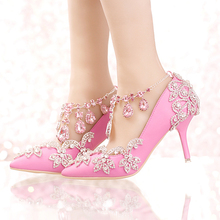 New Designer Pointed Toe Rhinestone Wedding Shoes Crystal Tassel Ankle Strap Banquet Formal Dress Shoes Luxury Women Prom Pumps