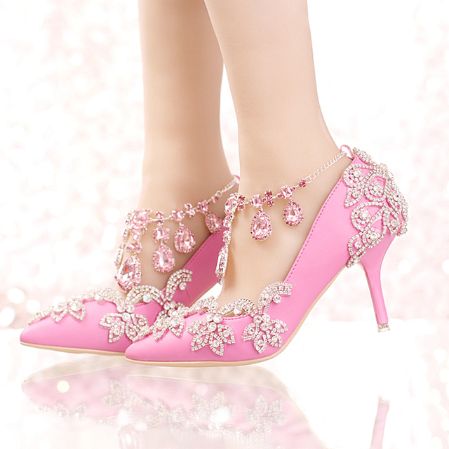 New Designer Pointed Toe Rhinestone Wedding Shoes Crystal Tassel Ankle  Strap Banquet Formal Dress Shoes Luxury 77431c81b488
