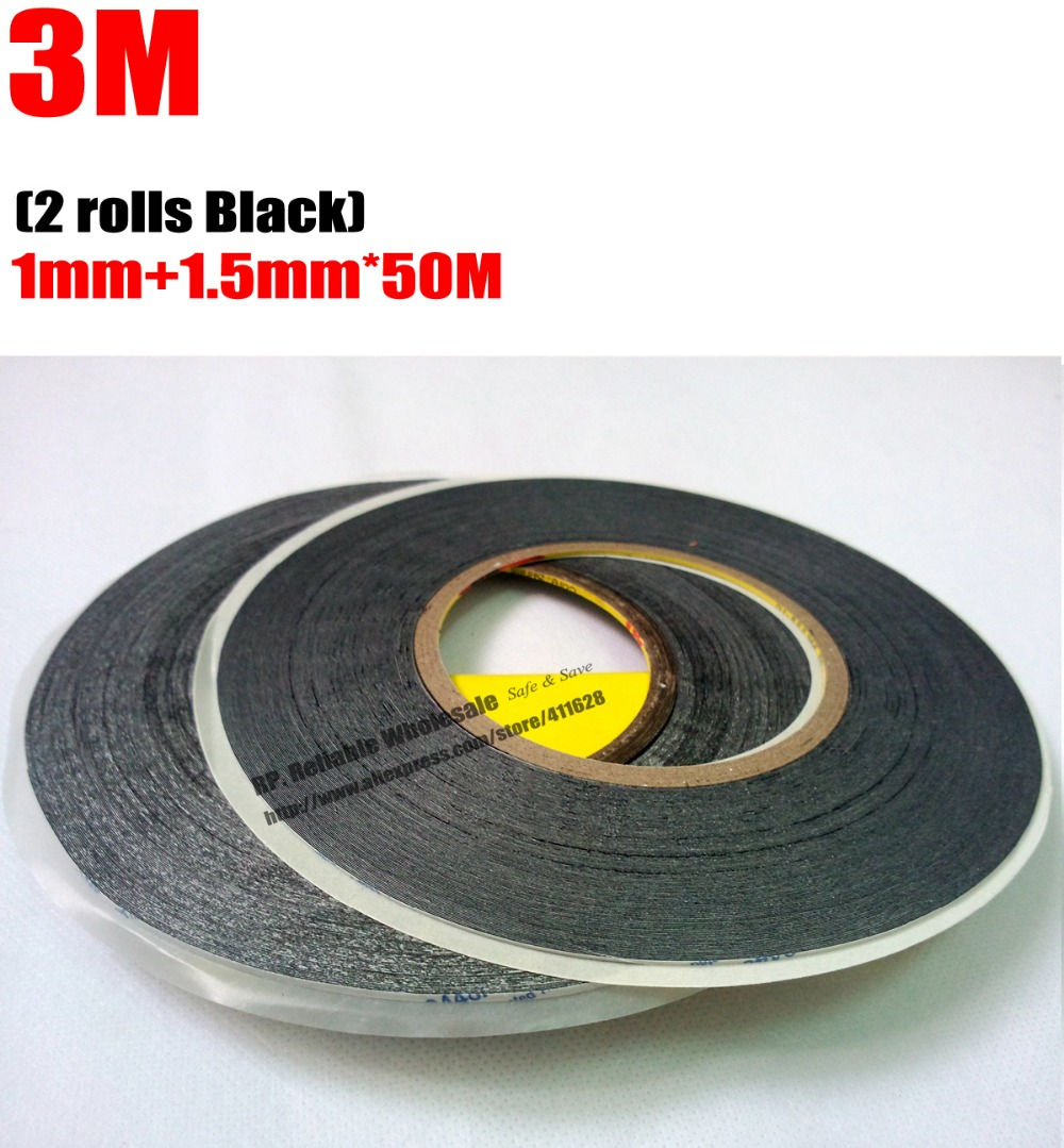 2 Rolls (1mm+1.5mm)*50M 3M Black Double Sided  Adhesive Tape Sticker for iPhone/iPad/Samsung HTC Tablet Cell Screen LCD Dispaly скотч 3m 9448ab samsung htc iphone ipad 9448 black