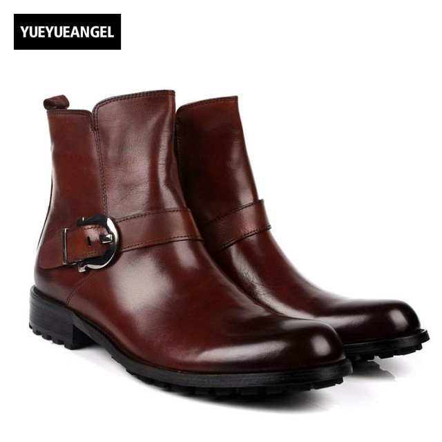 Fashion Winter Mens Ankle Boots With Buckle Luxury Genuine Leather Business Safety Shoes Office Party Martin