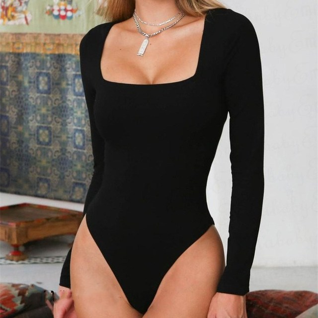 56c0ca90e0f7e Women Long Sleeve Bodysuit Stretch Leotard Tops White Black Bodycon  Jumpsuit Romper Skinny Tops Shirt Bodysuits