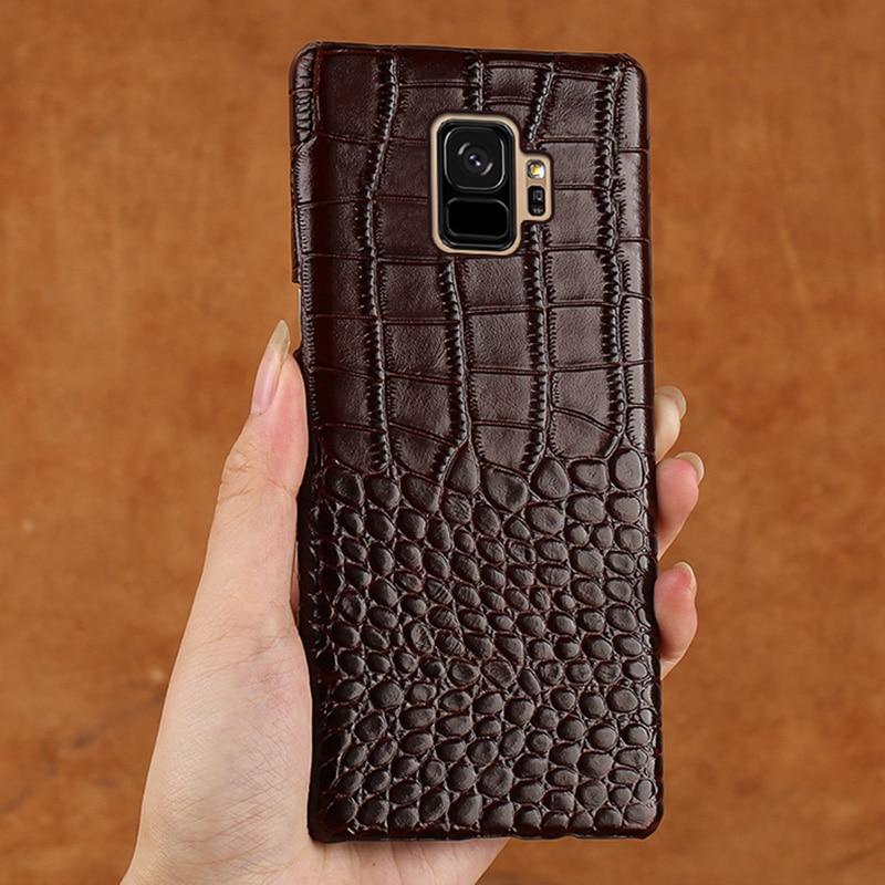 Cassa del telefono Per Samsung Galaxy S9 S5 S6 S7 Bordo S8 più A8 A3 A5 A7 J3 J5 J7 2017 nota 4 5 8 9 di struttura Del Coccodrillo Della Copertura Della Pelle Bovina