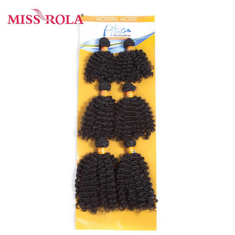 الآنسة رولا قصيرة متموجة الاصطناعية الشعر نسج 8 بوصة الجاز موجة 6 قطعة/الوحدة كانيكالون وصلات شعر حزمة عروض 4 اللون ل النساء