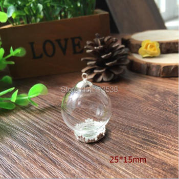 Free ship!! 100sets/lot silver color 25*15mm glass globe & crown base & cap set glass globe set glass vial pendant glass cover