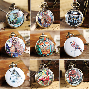 Owl Pocket Watch Fob Chain Necklace Pendant Mens Flip Case Watch Hour Clock for Men Women