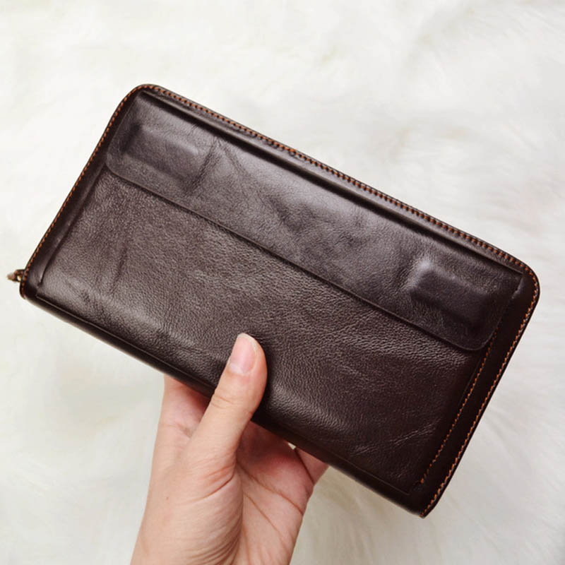 DALFR Genuine Leather Long Wallet Christmas Men Card Holder Money Purse Male Vintage Style Cowhide Male Clutch Bags for Men 2017 vintage genuine sheepskin leather male men s long wallet purse phone wallets card holder zipper pocket clutch bag bags for men