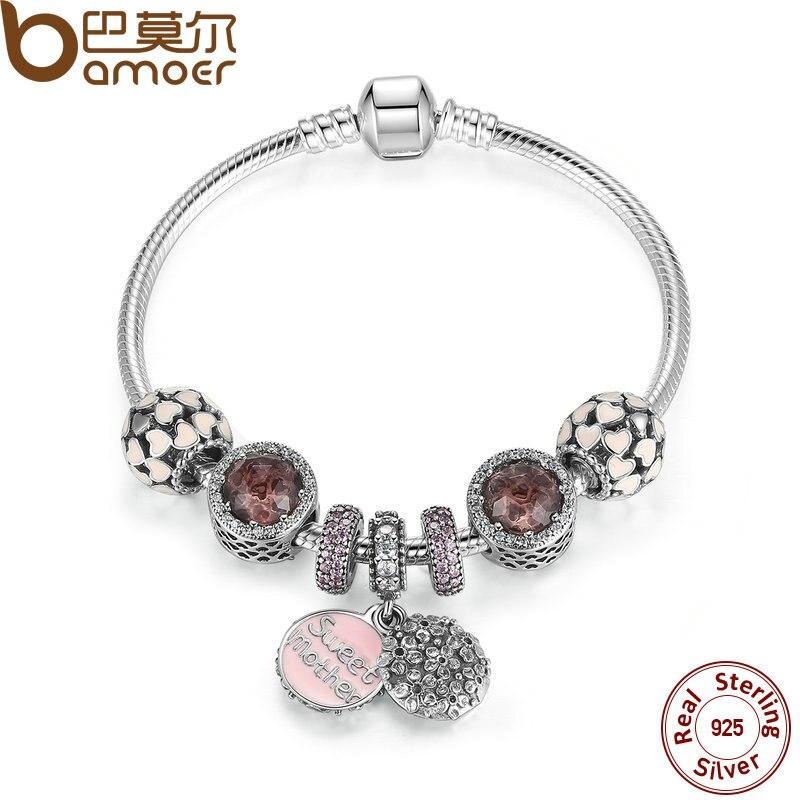 Bamoer стерлингового серебра 925 сладкий мать браслет с обилием Любовь Шарм подарок для матери Обручение Jewelry psb006