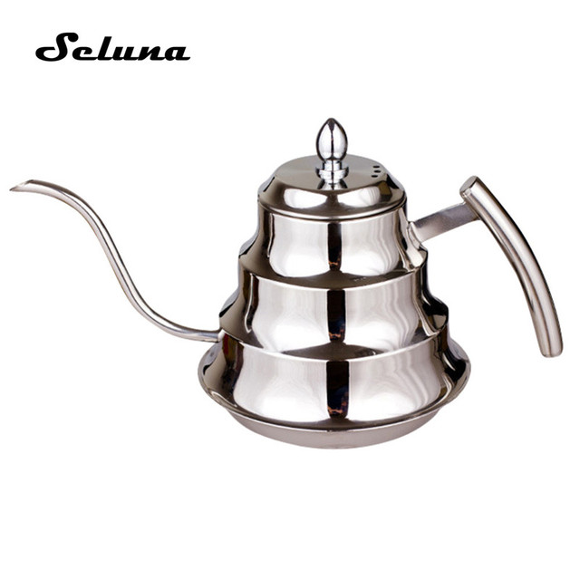 Seluna Gooseneck Aço Inoxidável 1.2L Pote de Café Pour-over Mão Pote de Café Por Gotejamento Cafeteira Chaleira com Filtro Coador De Chá bule