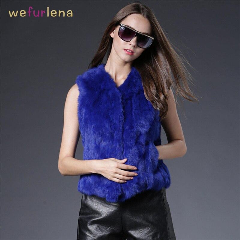 Women Real Rabbit Fur Vest Winter Genuine Fur Coat Sleeveless Short Style Fashion Fur Vest Jackets Natural Rabbit Fur Waistcoat