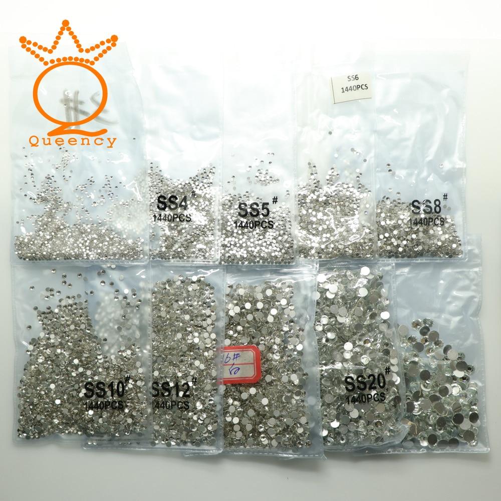 SS3-SS20 1440db Clear Deco ongles Non Hot Fix üveg gyémánt - Köröm művészet