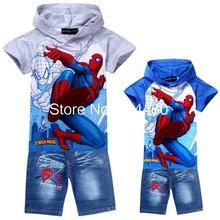 Mode 2014 spiderman enfants vêtements ensembles, bébé de bande dessinée hoodies jeans costume, au détail garçons à manches courtes t-shirt pantalon bleu Gris