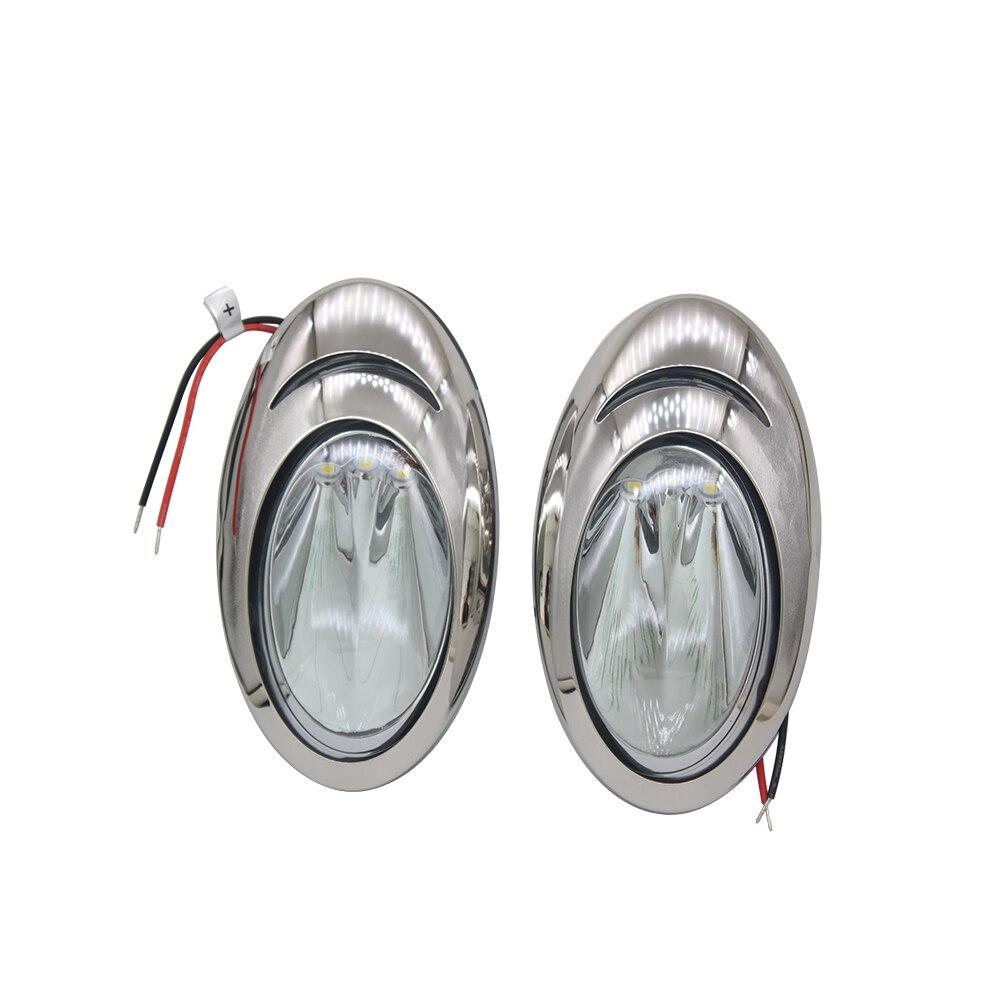1 paire Marine LED bateau blanc lumière en acier inoxydable coque côté Surface montage amarrage lumière de secours 12 V DC accessoires marins ITC