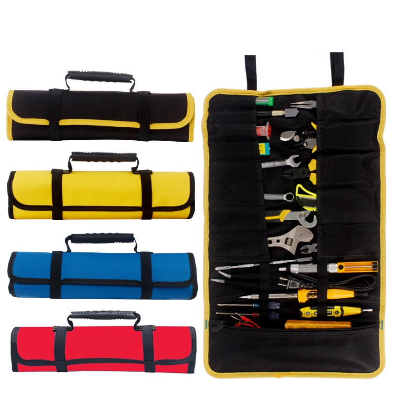 Multi function Tool box Bag reel type Woodworking Electrician repair canvas portable storage instrument Case|Tool Cases| |  - title=