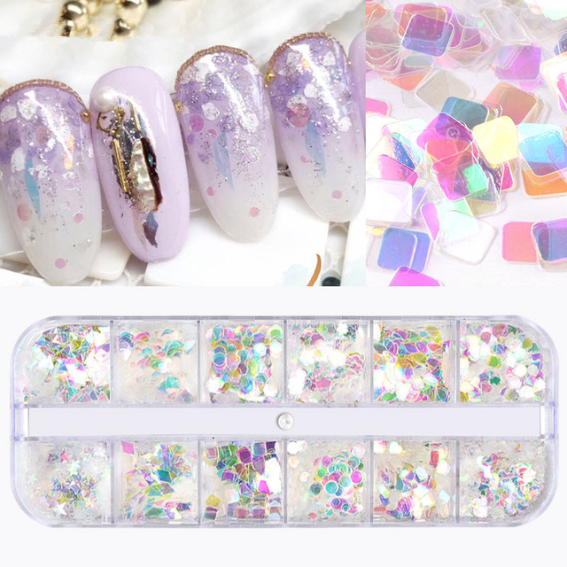 1 set Shiny Nail Art Glitter Sequins Colorful And Transparent Flake Sticker DIY Charm Paillette Manicure Accessory Decorations