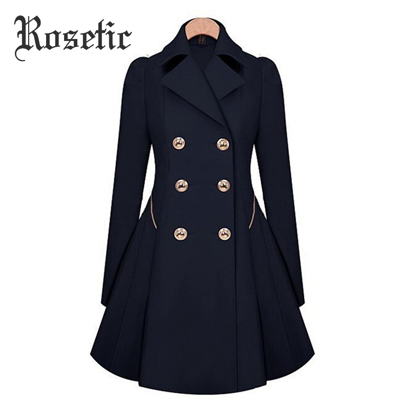 Rosetic Warm Winter Trench Coat Vintage Slim Plus Size Lapel Outwear Oversize Coat Elegant Wind Proof Office Lady Overcoat Solid
