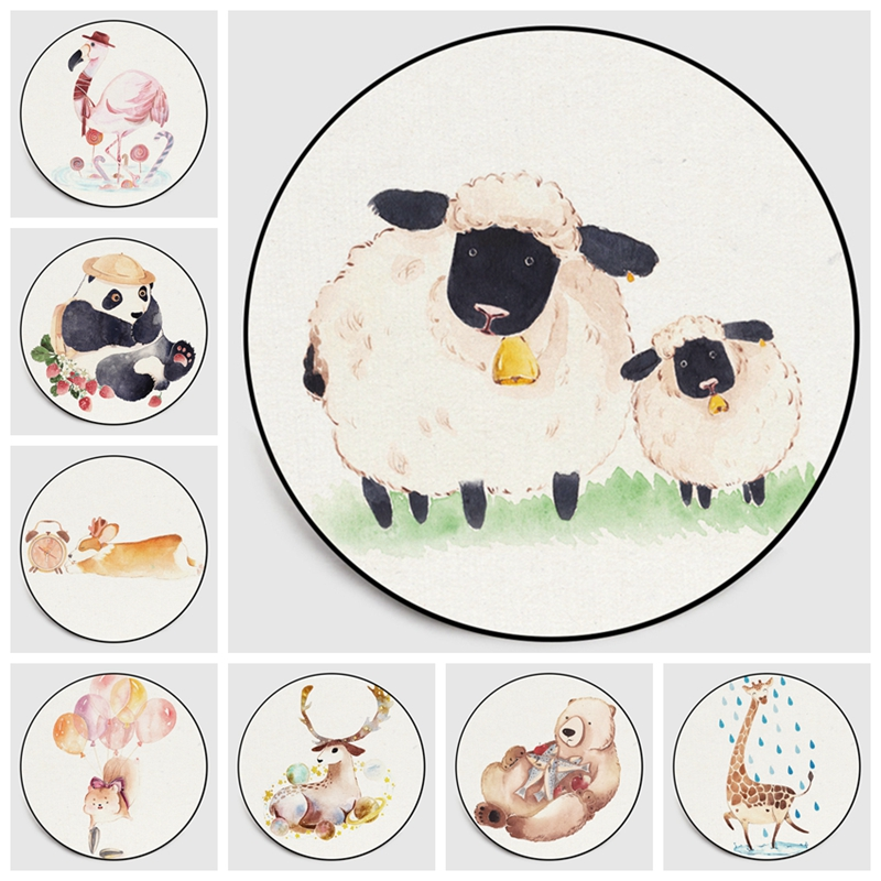 Nordic Cartoon Kids Round Area Rugs Computer Chair Watercolor Sheep Panda Circle Floor Mat for Children Bedroom Play Tent Carpet