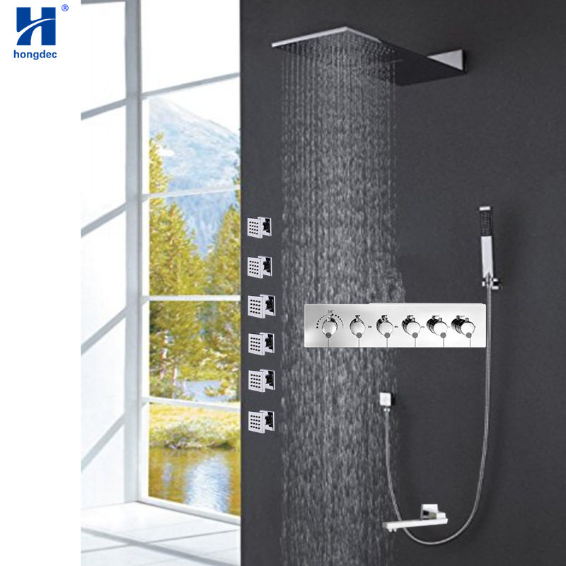 Hongdec Bathroom Luxury Concealed Thermostatic waterfall Rainfall Shower system Mixer Set with body jets