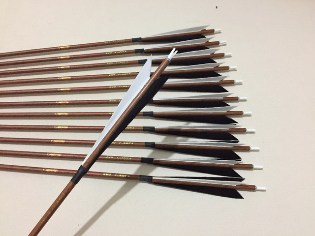 12Pcs/Lot Wood skin carbon arrow spine500 ID6.2 with 5″ Turkey fletching feather arrow point for traditional bow archery