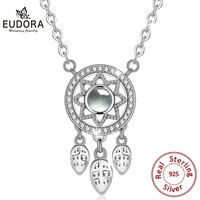 EUDORA 925 Sterling Silver Feather Dream Catcher I Love you Projection Pendant Fashion Necklace for Women Creative jewelry Gift