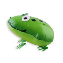 Hot Kid Toys Zoo Theme Birthday Balloon Cartoon Green Frog Animal Helium Balloons Foil Walking Pet Gifts For Baby Boy