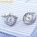 1 пара  винтажные стильные часы с циферблатом  стильные запонки  Забавные часы  механические рукава  кнопки  ювелирные аксессуары