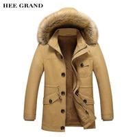 HEE GRAND Men Winter Warm Parkas 2017 New Arrival Thickening Of Cotton Fashion Coat Multi Pockets Design Plus Size M 5XL MWM1751