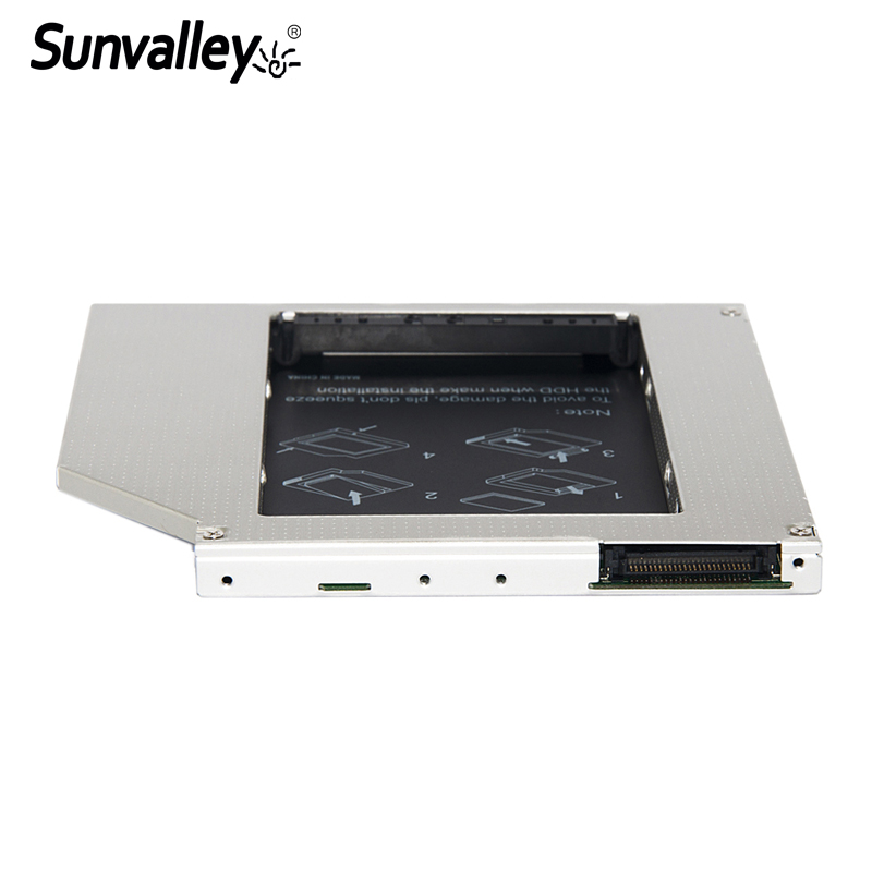 Sunvalley High Quality 2nd Hdd Caddy IDE To SATA 9.5mm Exchange DVD Driver Case For Laptop Universal Aluminum