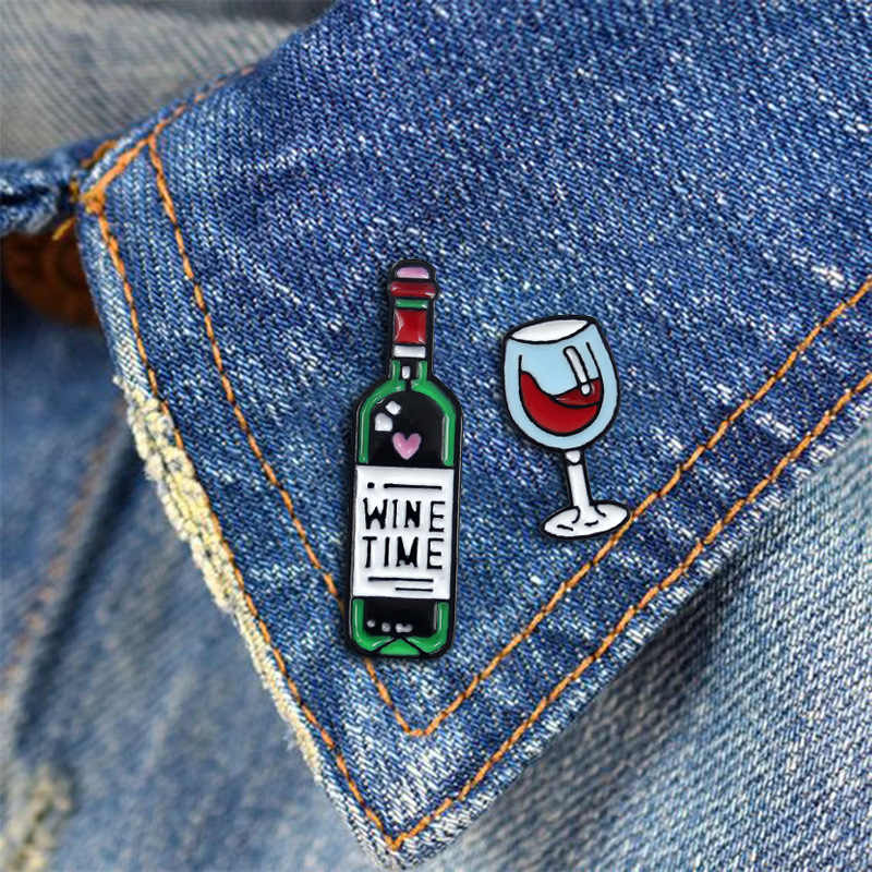 Wine Time Bottle Wine Glass Enamel Brooches Pin Badge Goblet Red Wine Enamel Lapel Brooch Pins Badge Cartoon Jeans Accessories