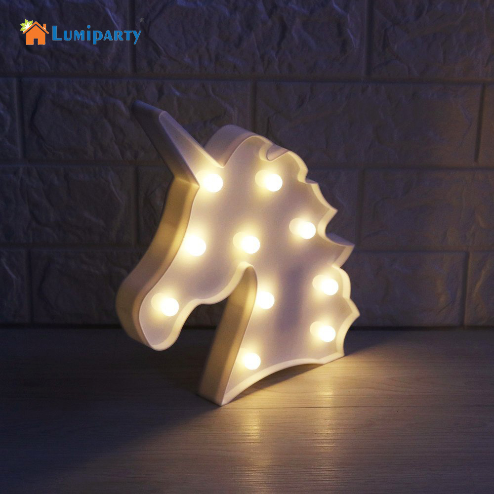LumiParty New 3D Unicorn Marquee Light with 10 Warm White LED for Home Decor LED Marquee Sign LED Light up Unicorn Letters Lamp