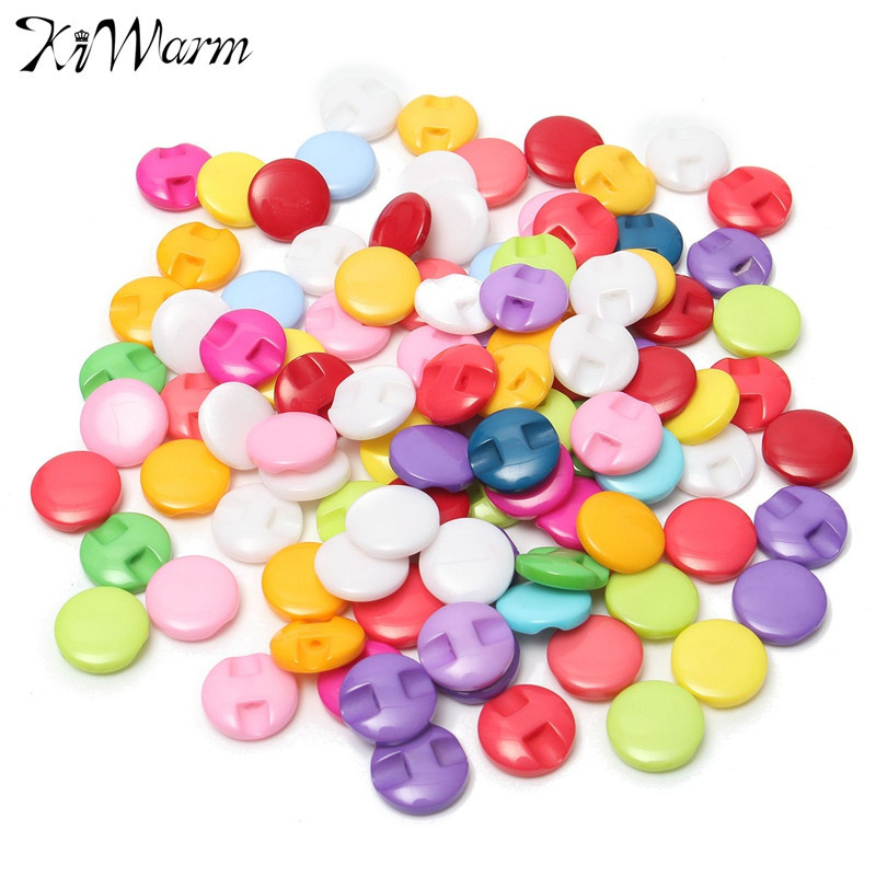 100Pcs Newest 12.5MM Mixed Color Round Shank Dyed Resin Buttons Decor for Scrapbooking Coat Sewing Apparel Clothes Accessories
