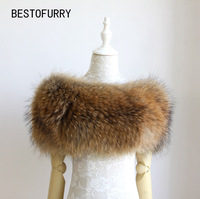 Women Fashion Sexy Elastic Real Raccoon Fur Strip Sewed Luxury Warm Shawl Opera Cape Wrap Amice RCSR0001