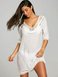 e7610e6296d4c Ups Up To Outings 2018 Loose White Cotton Hollow Skirt For Beach Dress