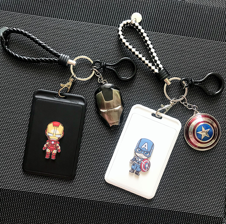 Fashion Cartoon Heroes Badge Reel ID Card Superman Holder School Office Supplies Vertical Style Keychain Kids Gift