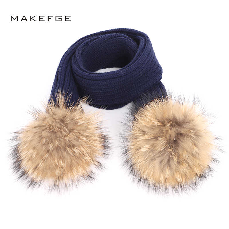 2018 Hot Sale Solid Color Knitted Children s Scarf Autumn Winter Boy Girl  Scarves Warm Raccoon Fur 238e03bacb1c