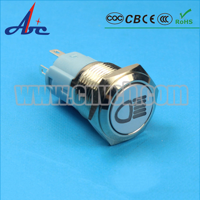 ABBEYCON 1NO1NC 16mm customized symbol metal switch led light latching push button switch for auto car/school/factory