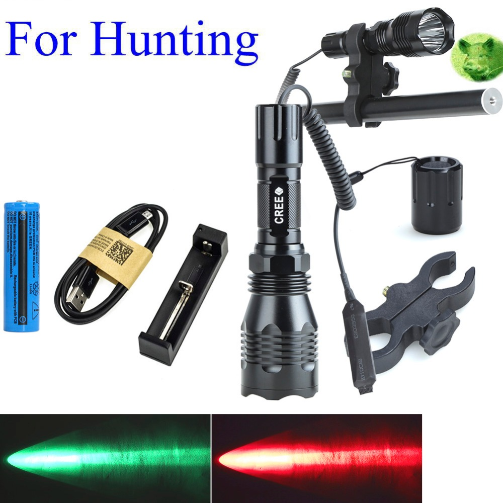 ФОТО 1000LM LED Tactical Flashlight Long Range Red Green White Hunting Light Lantern With 25mm Diameter Gun Mount + Pressure Switch