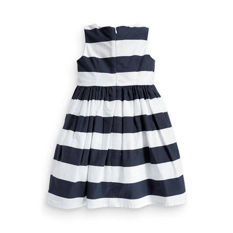 Для маленьких девочек цельнокроеное платье сине-белые полосатый платье–пачка с бантом летние От 1 до 5 лет,