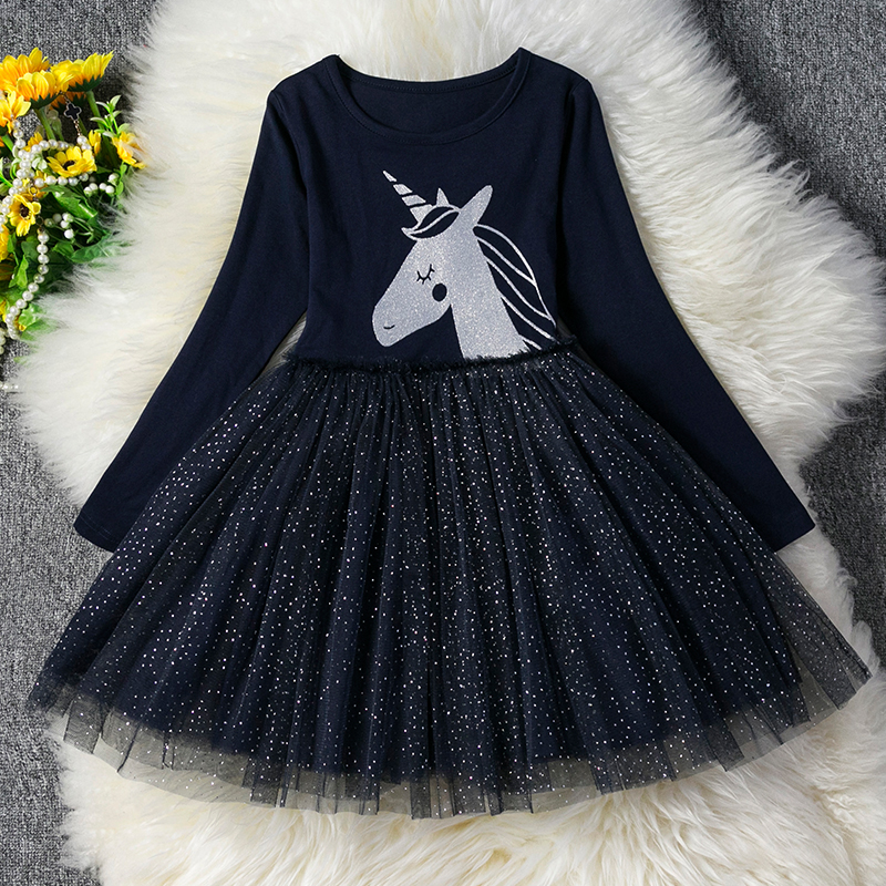 Autumn Winter Dresses Licorne Sequined Party Girls Kids Children Casual New-Brand Vestidos