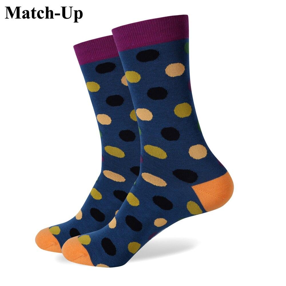 Match-Up Match-Up dot mens combed cotton socks brand man dress knit socks Big Dot US size(7.5-12)