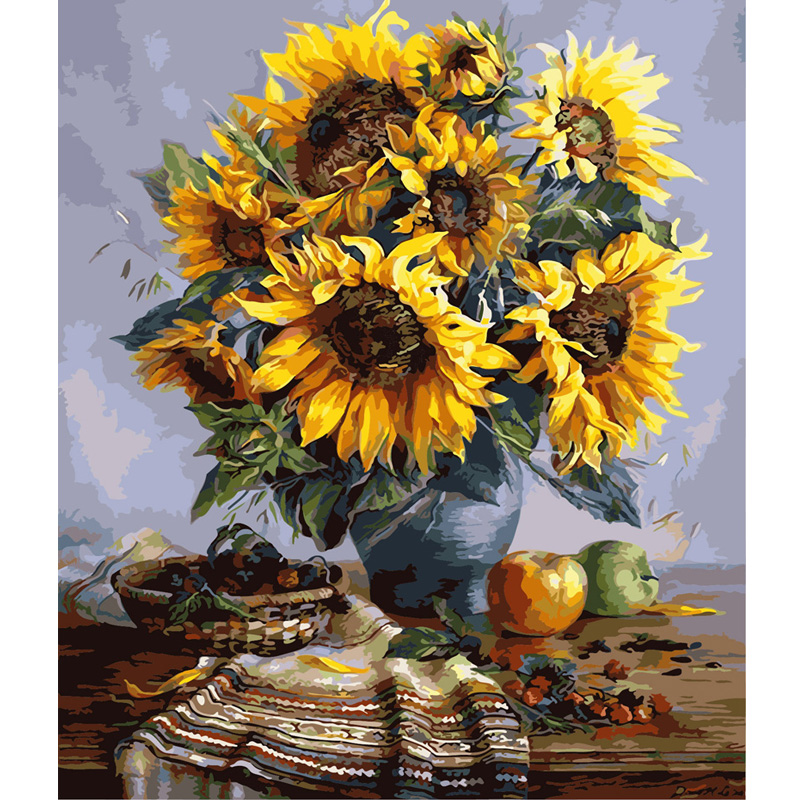 40*50cm New DIY digital oil painting sunflower vase hand painted decoration drawing toys
